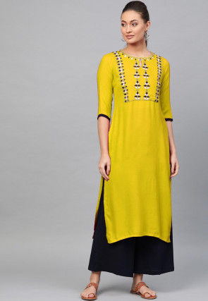 Embroidered Rayon Kurta with Palazzo in Yellow