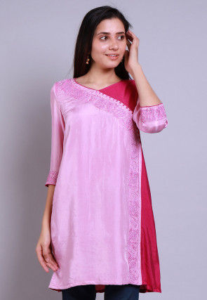 Embroidered Rayon Kurti in Pink and Magenta