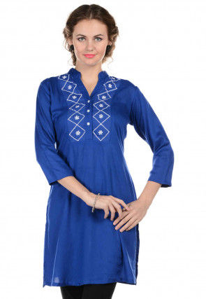 Embroidered Rayon Kurti in Royal Blue