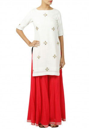 Embroidered Rayon Kurti Set in Off White