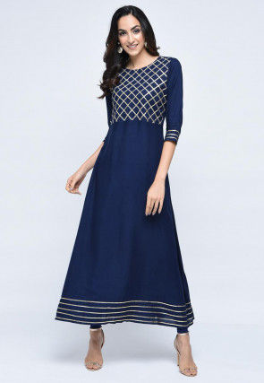 Embroidered Rayon Long A Line Kurta in Navy Blue