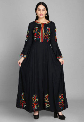 Embroidered Rayon Long Flared Kurta in Black