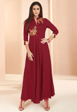 Embroidered Rayon Long Flared Kurta in Maroon