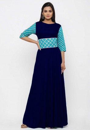 Embroidered Rayon Long Kurta Set in Navy Blue