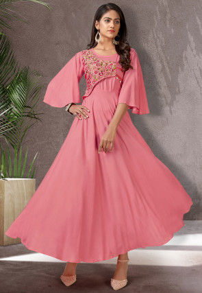 Embroidered Rayon Maxi Dess in Pink