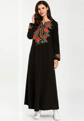 Embroidered Rayon Maxi Dress in Black
