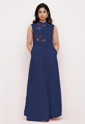 Embroidered Rayon Maxi Dress in Dark Blue
