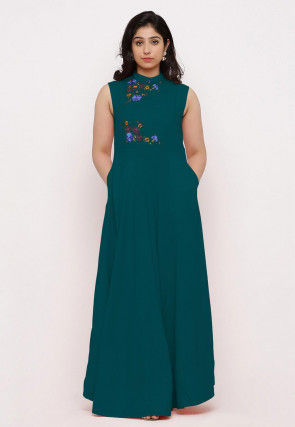 Embroidered Rayon Maxi Dress in Dark Teal Green