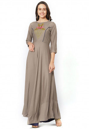 Embroidered Rayon Maxi Dress in Fawn