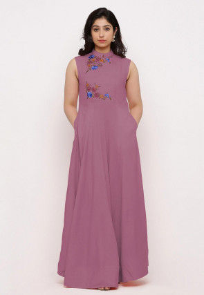 Embroidered Rayon Maxi Dress in Light Purple