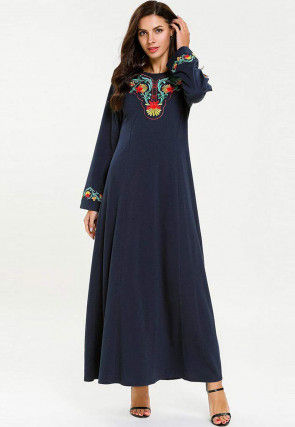 Embroidered Rayon Maxi Dress in Navy Blue