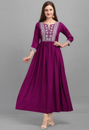 Embroidered Rayon Maxi Dress in Purple