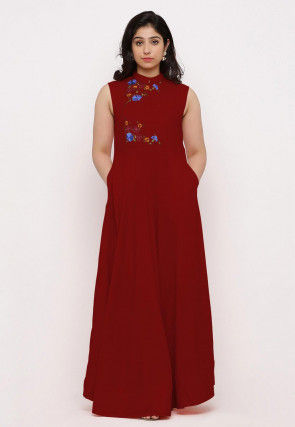 Embroidered Rayon Maxi Dress in Red