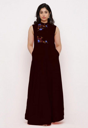 Embroidered Rayon Maxi Dress in Wine
