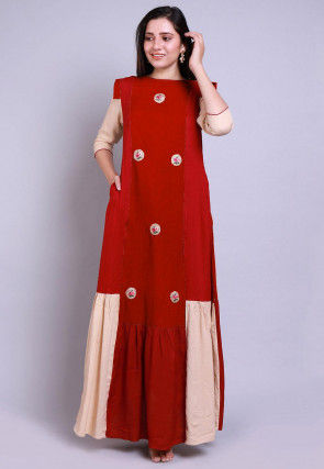 Embroidered Rayon Maxi Dress Set in Red