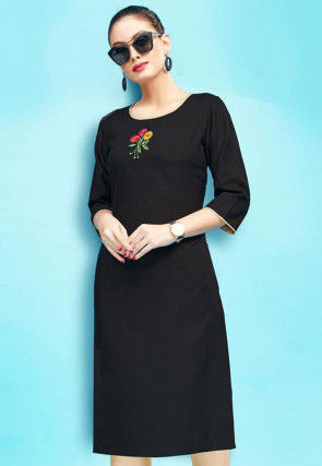 Embroidered Rayon Midi Dress in Black