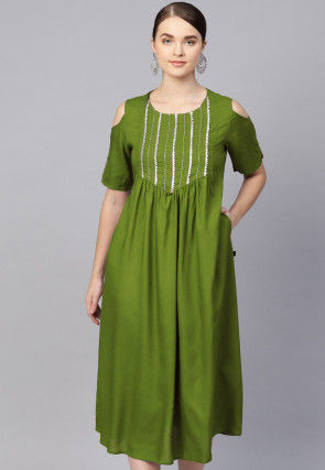 Embroidered Rayon Midi Dress in Olive Green