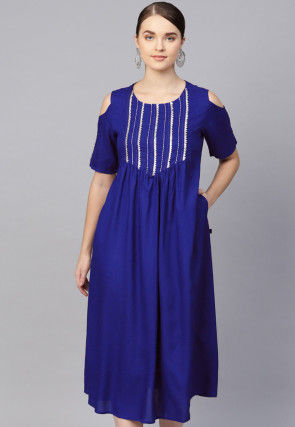 Embroidered Rayon Midi Dress in Royal Blue
