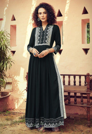 Embroidered Rayon Pakistani Suit in Black