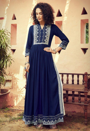 Embroidered Rayon Pakistani Suit in Dark Blue