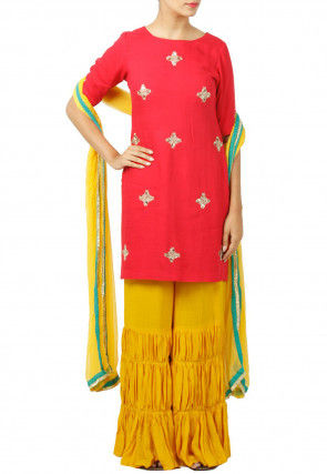 Embroidered Rayon Pakistani Suit in Fuchsia