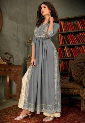 Embroidered Rayon Pakistani Suit in Grey