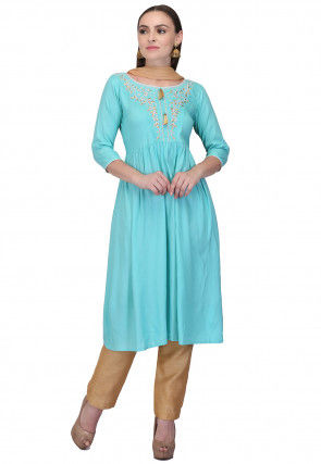 Embroidered Rayon Pakistani Suit in Light Blue
