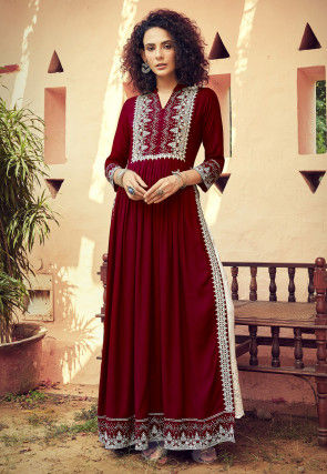 Embroidered Rayon Pakistani Suit in Maroon