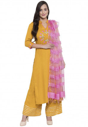 Embroidered Rayon Pakistani Suit in Mustard