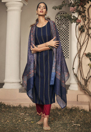 Embroidered Rayon Pakistani Suit in Navy Blue