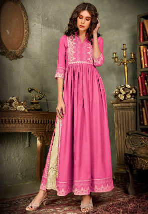 Embroidered Rayon Pakistani Suit in Pink