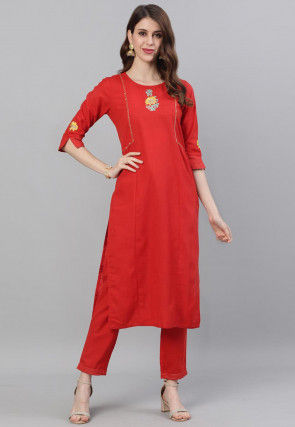 Embroidered Rayon Pakistani Suit in Red