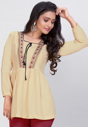 Embroidered Rayon Peplum Style Top in Beige