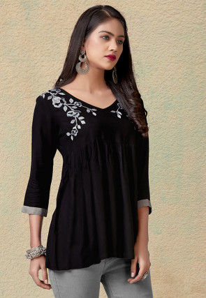 Embroidered Rayon Peplum Style Top in Black