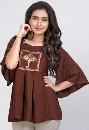 Embroidered Rayon Peplum Style Top in Brown