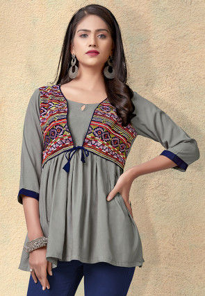 Embroidered Rayon Peplum Style Top in Grey