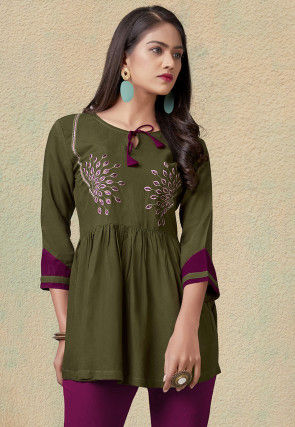 Embroidered Rayon Peplum Style Top in Olive Green