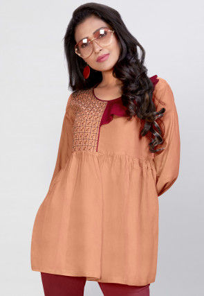 Embroidered Rayon Peplum Style Top in Peach