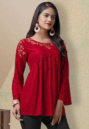Embroidered Rayon Peplum Style Top in Red