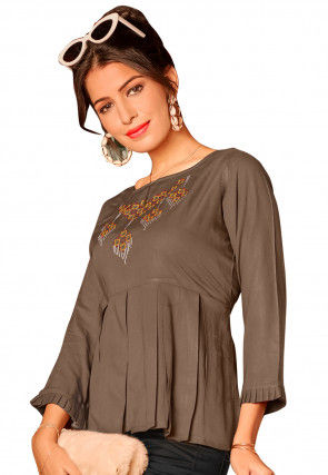 Embroidered Rayon Pleated Top in Brown