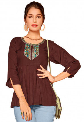 Embroidered Rayon Pleated Top in Maroon