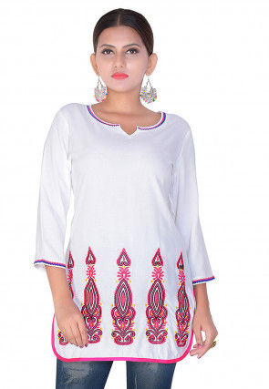 Embroidered Rayon Short Kurti in White