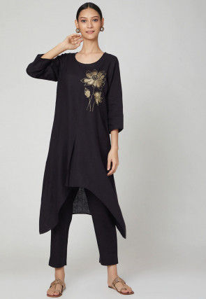 Embroidered Rayon Slub Kurta with Pant in Black