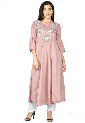 Embroidered Rayon Slub Kurta with Pant in Light Old Rose