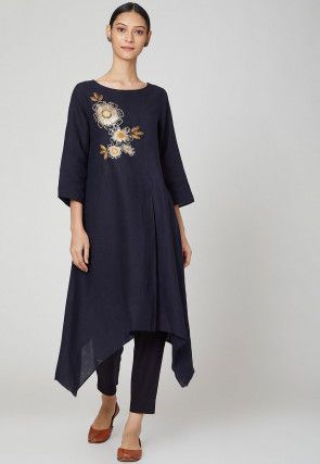 Embroidered Rayon Slub Kurta with Pant in Navy Blue