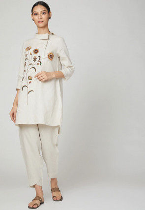 Embroidered Rayon Slub Kurta with Pant in Off White