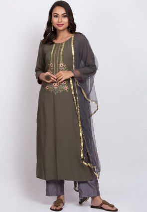 Embroidered Rayon Slub Pakistani Suit in Dusty Olive Green