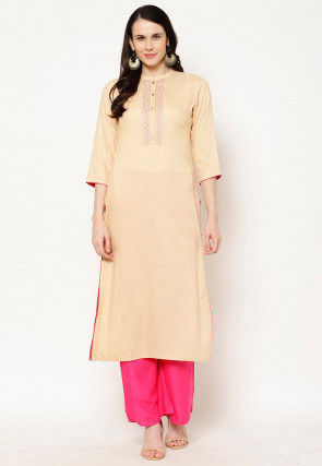 Embroidered Rayon Straight Kurta in Beige