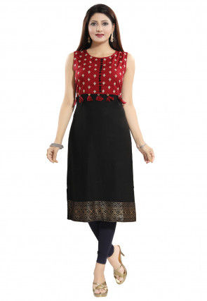 Embroidered Rayon Straight Kurta in Black and Maroon
