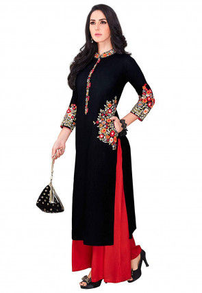 Embroidered Rayon Straight Kurta in Black